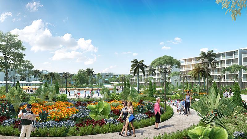 Phối cảnh vườn hoa trong nội khu dự án FLC Lux City Quy Nhơn