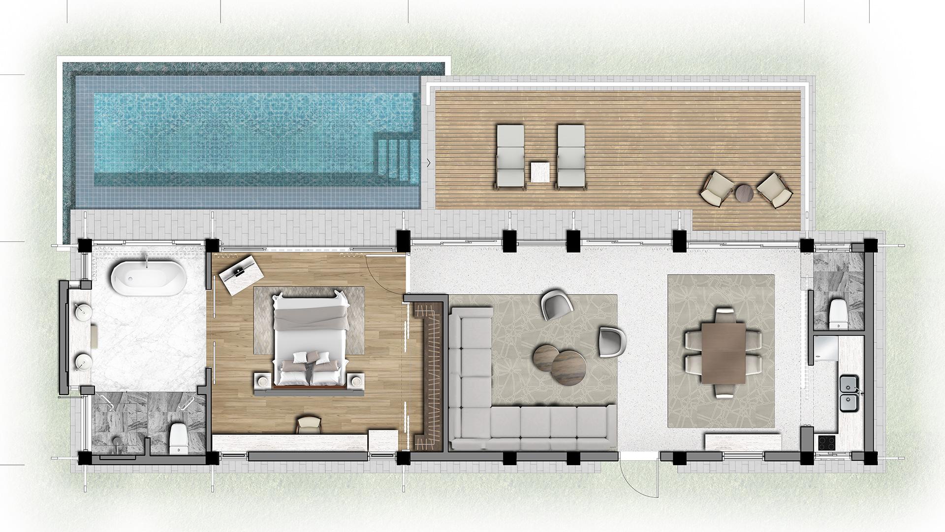 Mặt bằng căn biệt thự loại 1 phòng ngủ dự án Banyan Tree Residences