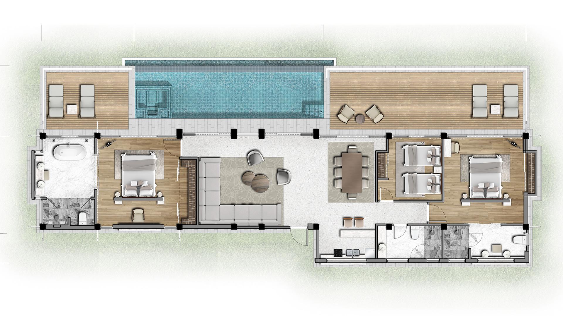 Mặt bằng căn biệt thự loại 3 phòng ngủ dự án Banyan Tree Residences