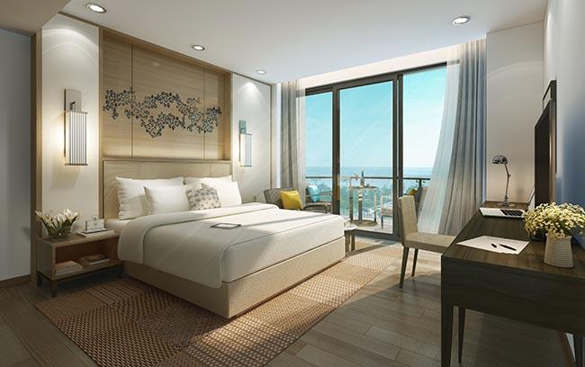 Phòng ngủ căn hộ mẫu condotel InterContinental Phu Quoc Long Beach Resort