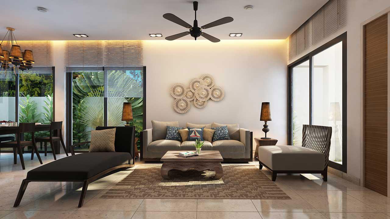 Phòng khách căn hộ mẫu Angsana Residences