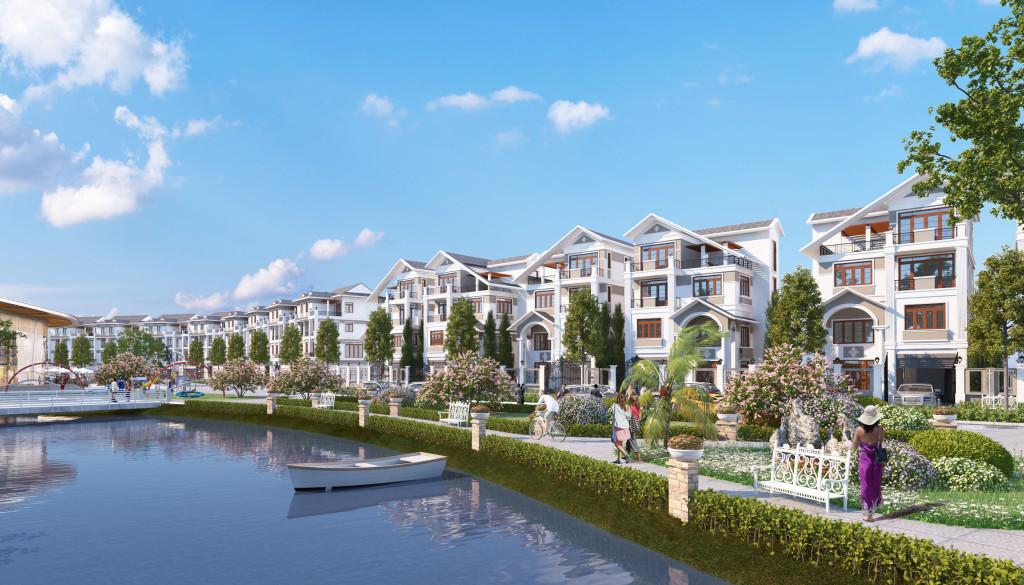 Phối cảnh biệt thự đơn lập dự án Bách Việt Lake Garden