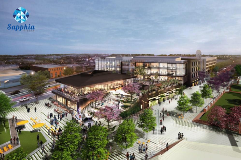 Phối cảnh khu trung tâm thương mại trong khuôn viên dự án Sapphia Villas Long An