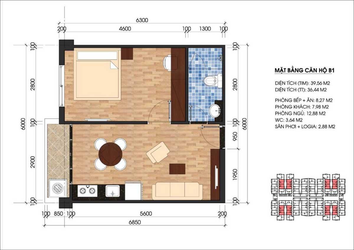 Mặt bằng căn hộ 1 phòng ngủ điển hình dự án Unico Thăng Long Bình Dương