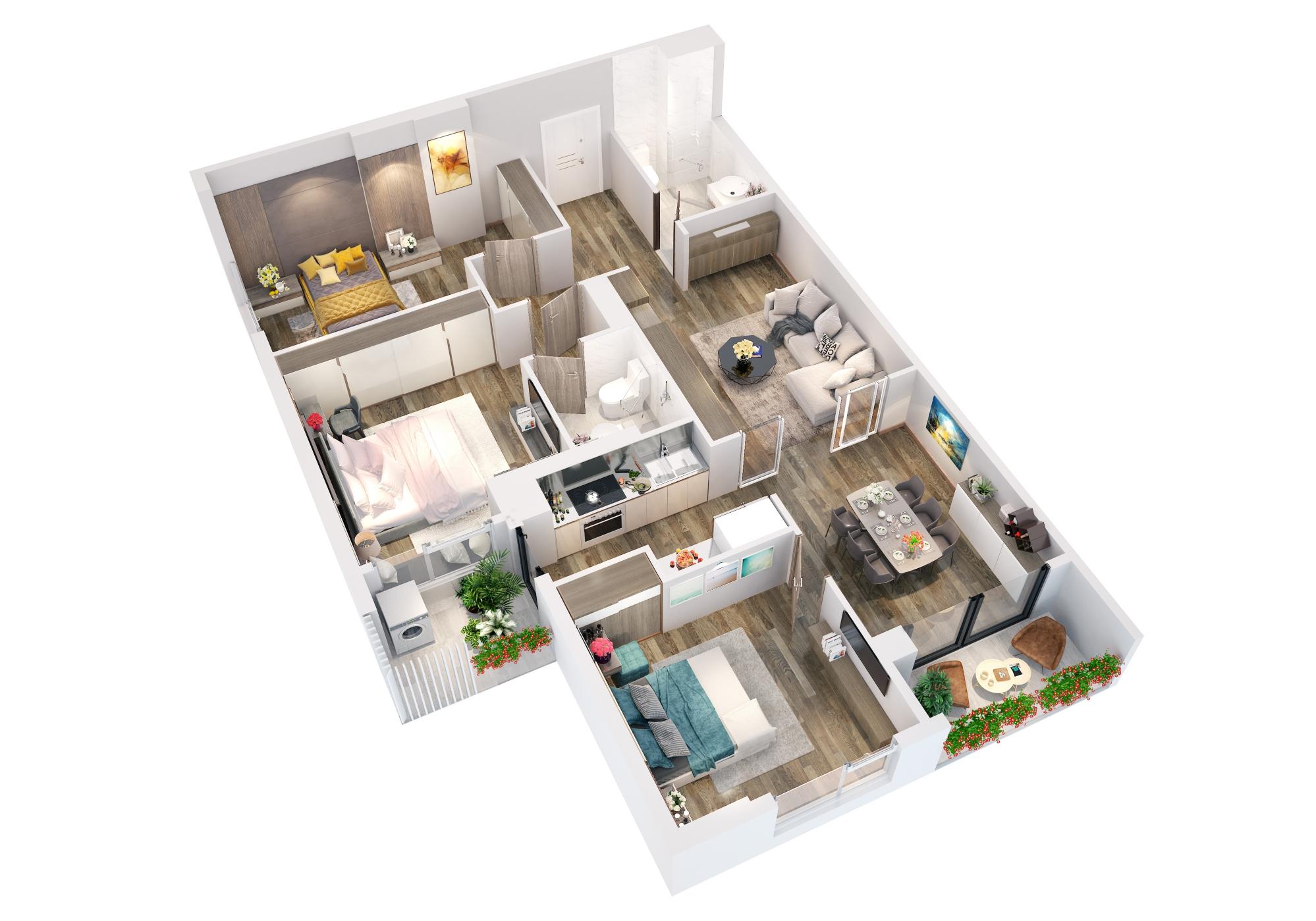 Phối cảnh 3D căn hộ loại A dự án căn hộ The Legacy Hà Nội