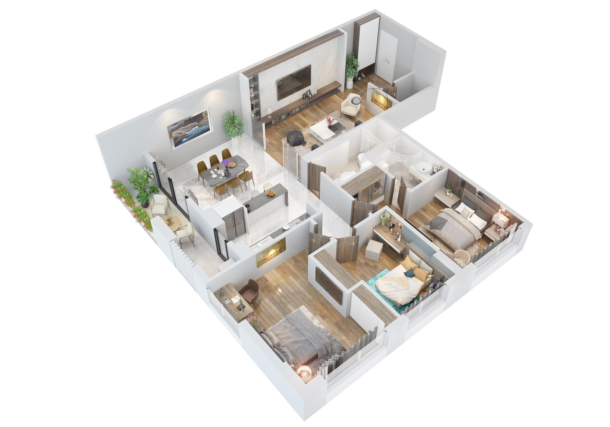 Phối cảnh 3D căn hộ loại B dự án The Legacy Hà Nội