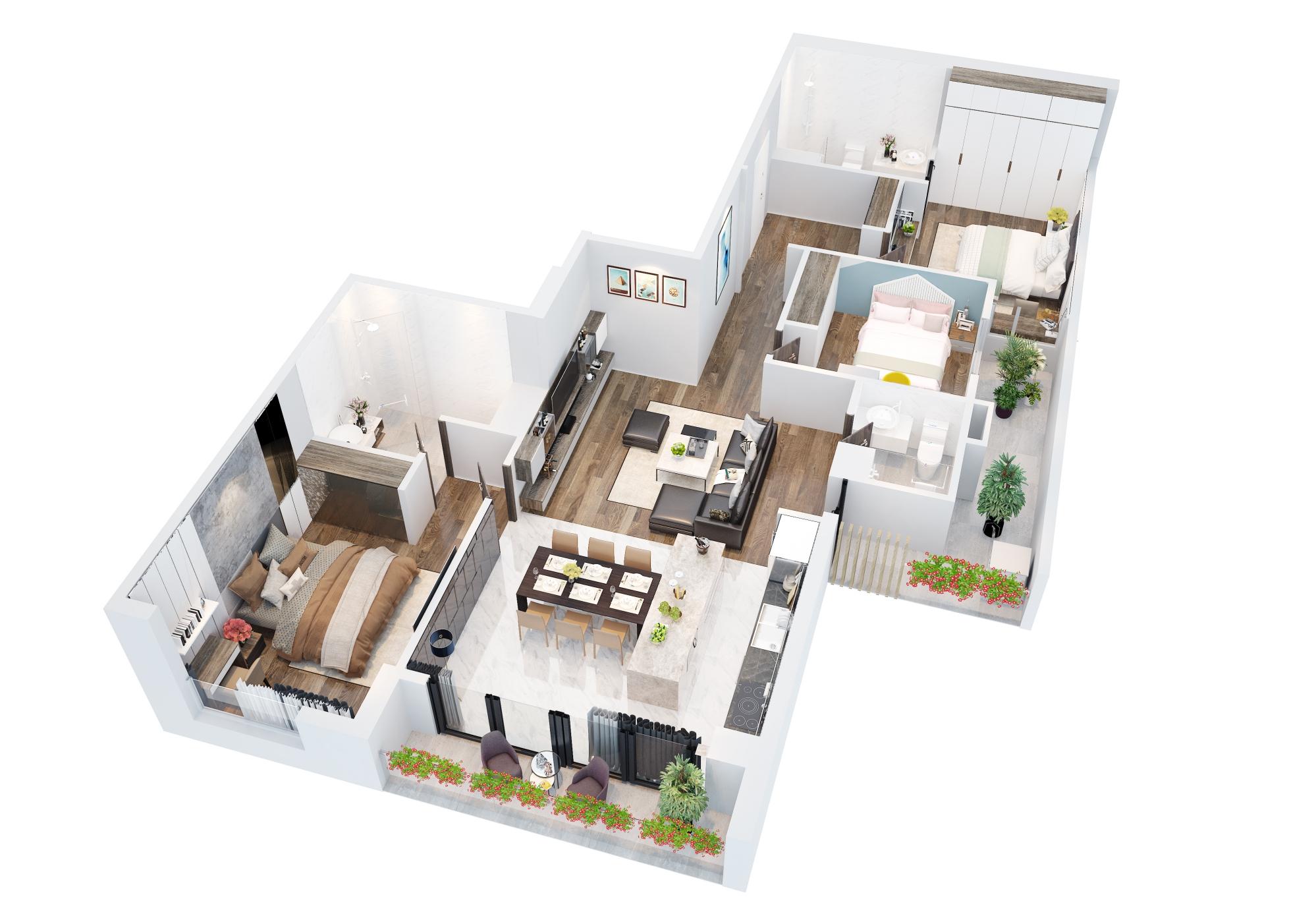 Phối cảnh 3D căn hộ loại C dự án The Legacy Hà Nội