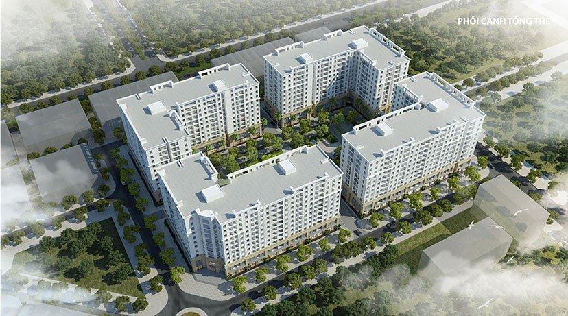 Phối cảnh khối chung cư gồm 4 block của dự án FLC Tropical City Hạ Long