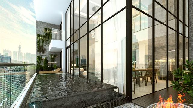 Phối cảnh một góc hồ bơi ngoài trời tích hợp tại dự án Sunshine Crystal River