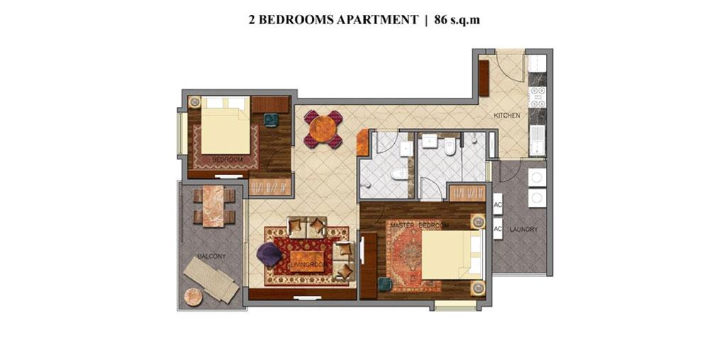 Mặt bằng căn hộ 2 phòng ngủ khối condotel dự án Coastar Estate