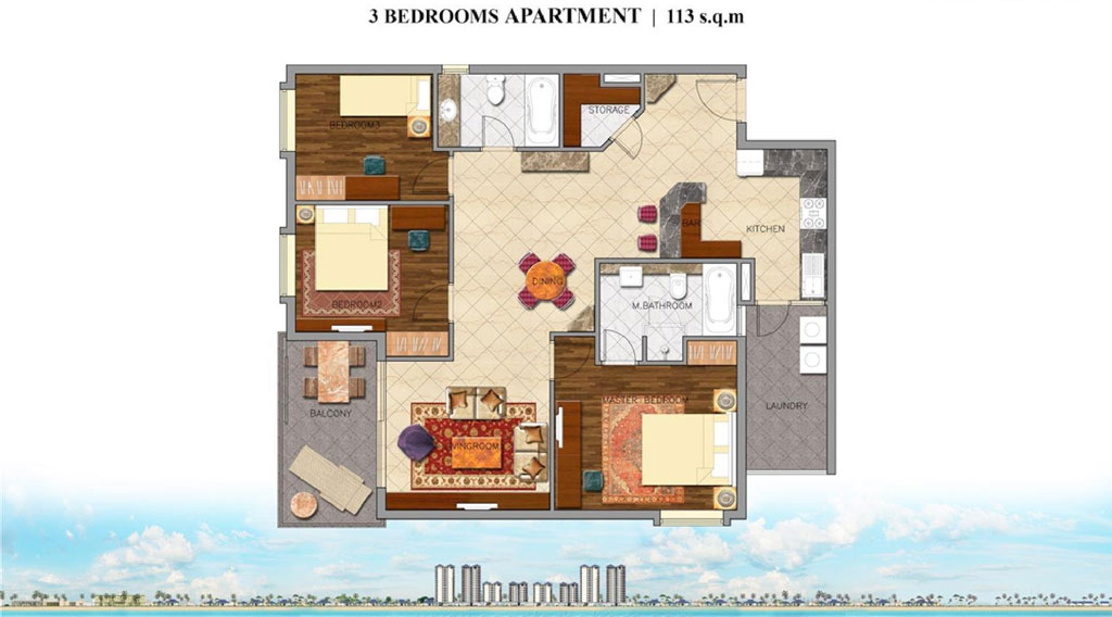 Mặt bằng căn hộ 3 phòng ngủ khối condotel dự án Coastar Estate