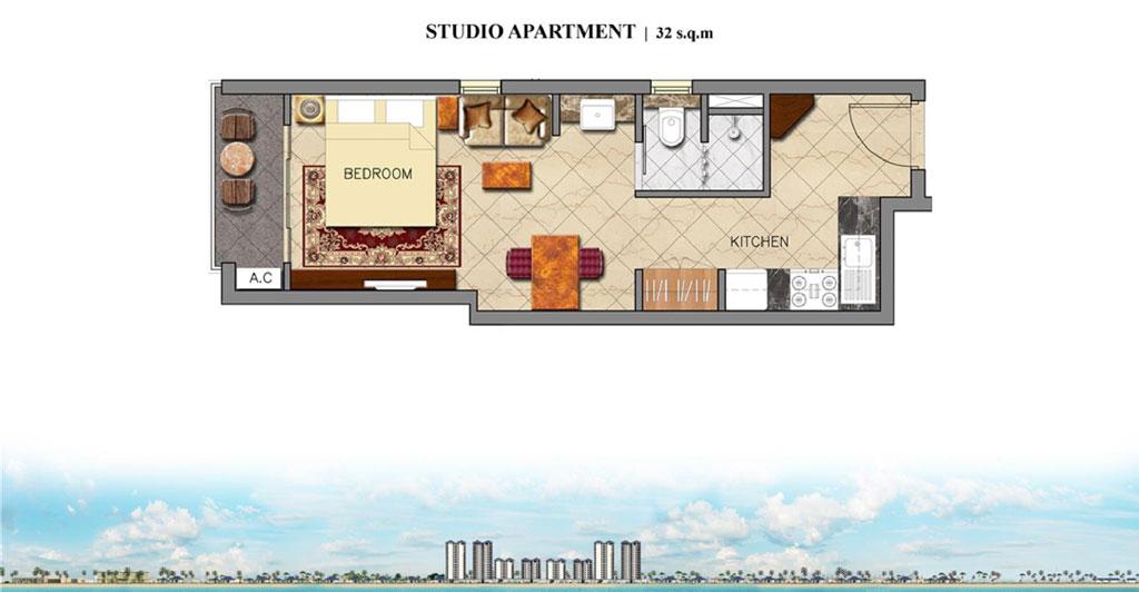 Mặt bằng căn hộ studio của khối condotel dự án Coastar Estate
