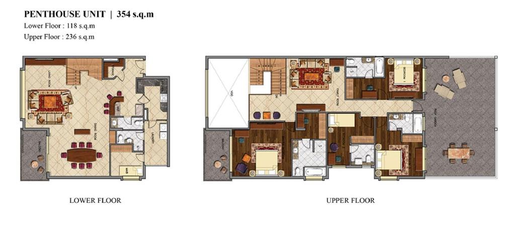 Mặt bằng căn hộ penthouse khối condotel dự án Coastar Estate