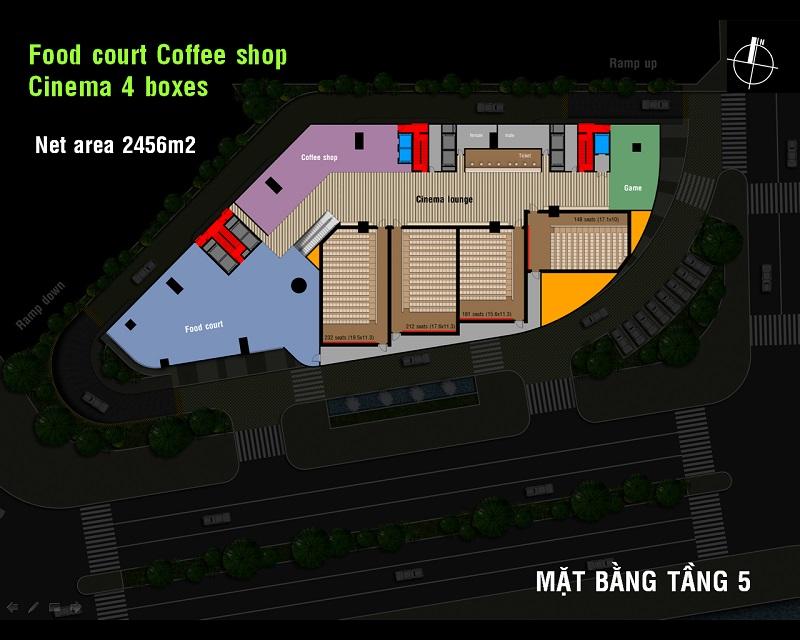 Mặt bằng tầng khu ẩm thực, quán cafe và rạp chiếu phim dự án Charmington Dragonic