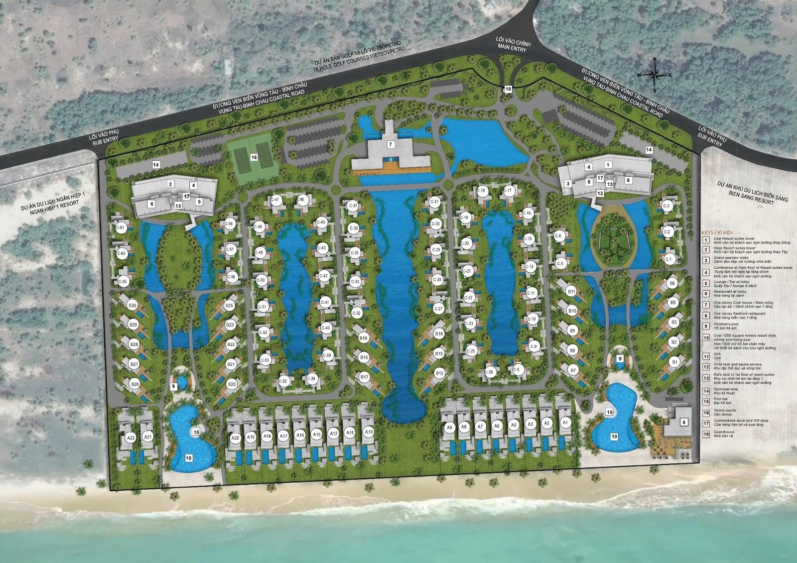 Mặt bằng tổng thể dự án The Hamptons Hồ Tràm