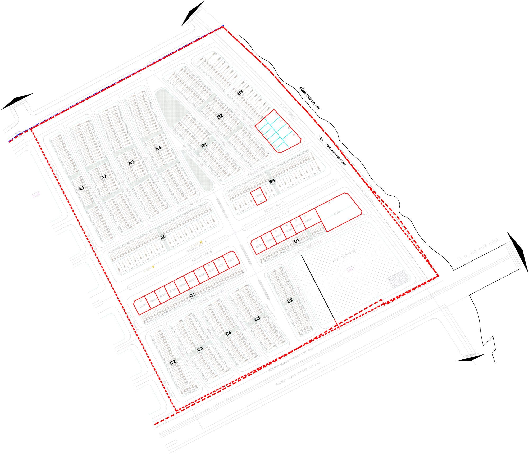 Mặt bằng phân lô dự án Lavilla Green City tỉnh Long An