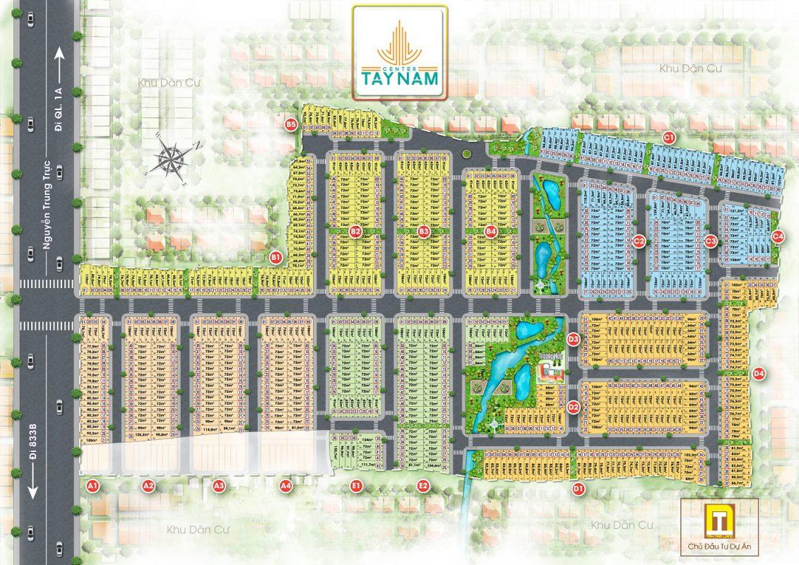 Mặt bằng phân lô dự án khu đô thị Tây Nam Center tỉnh Long An