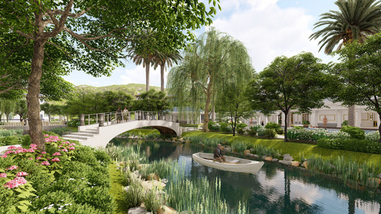 Phối cảnh khuôn viên công viên, cảnh quan nội khu dự án nghỉ dưỡng Royal Streamy Villas tỉnh Phú Quốc
