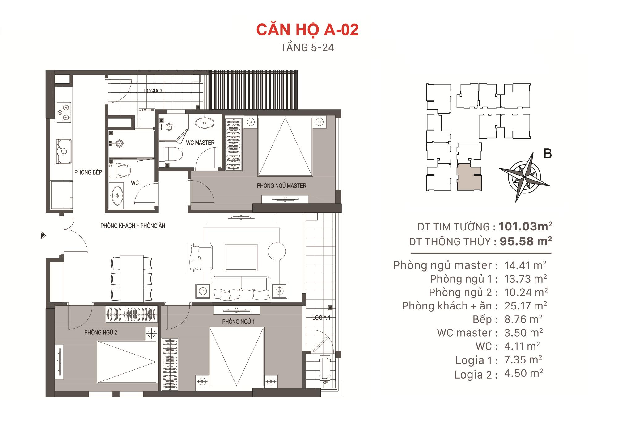 Mặt bằng căn hộ 3 phòng ngủ