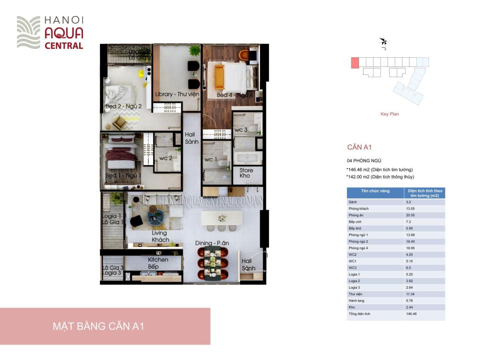 Mặt bằng căn hộ điển hình 4 phòng ngủ