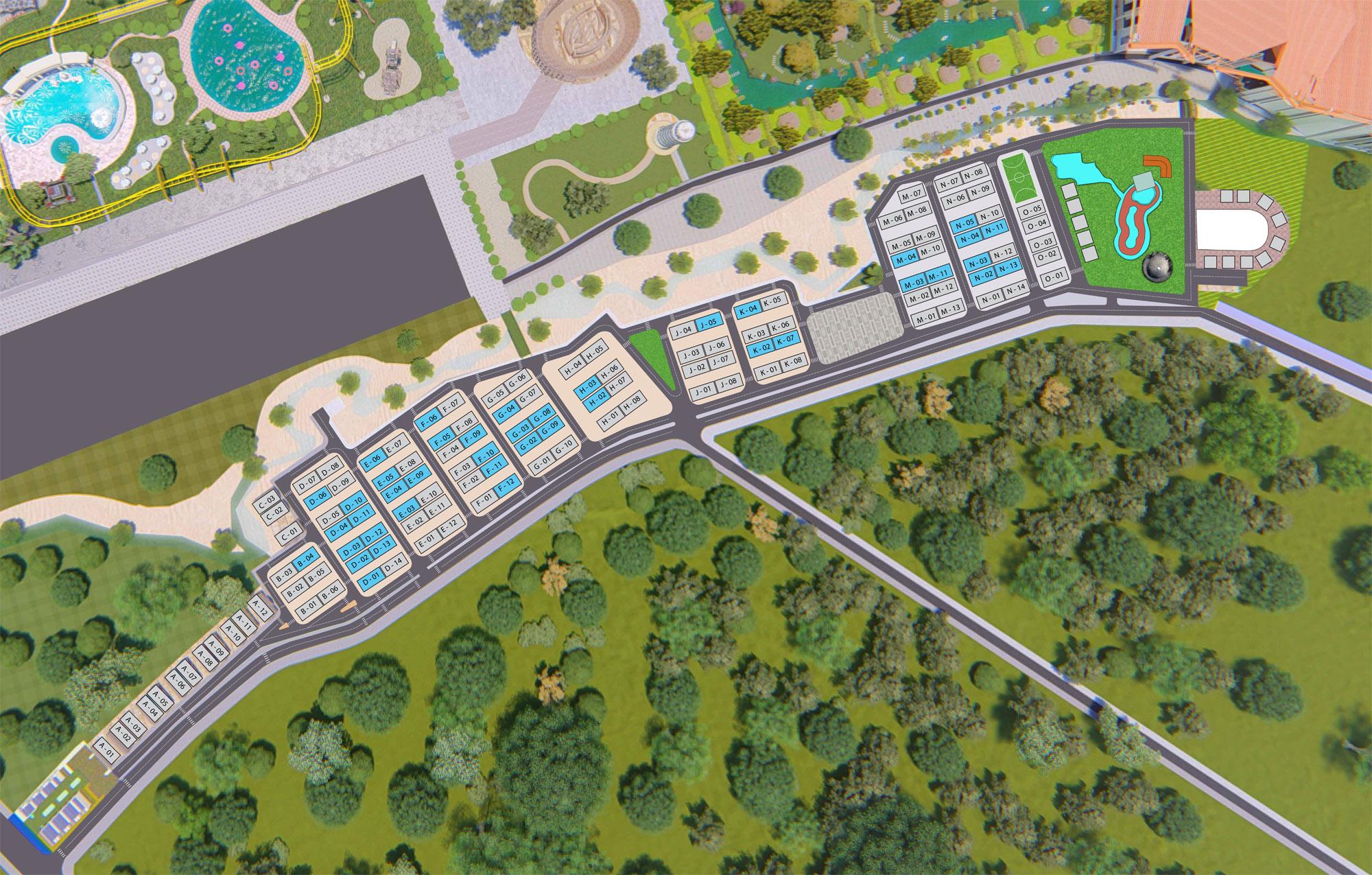 Mặt bằng phân lô các căn biệt thự dự án Eco Bangkok Villas Bình Châu