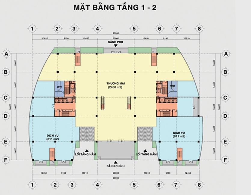 Mặt bằng tầng điển hình (tầng 1 – 2) dự án BMC Lũy Bán Bích