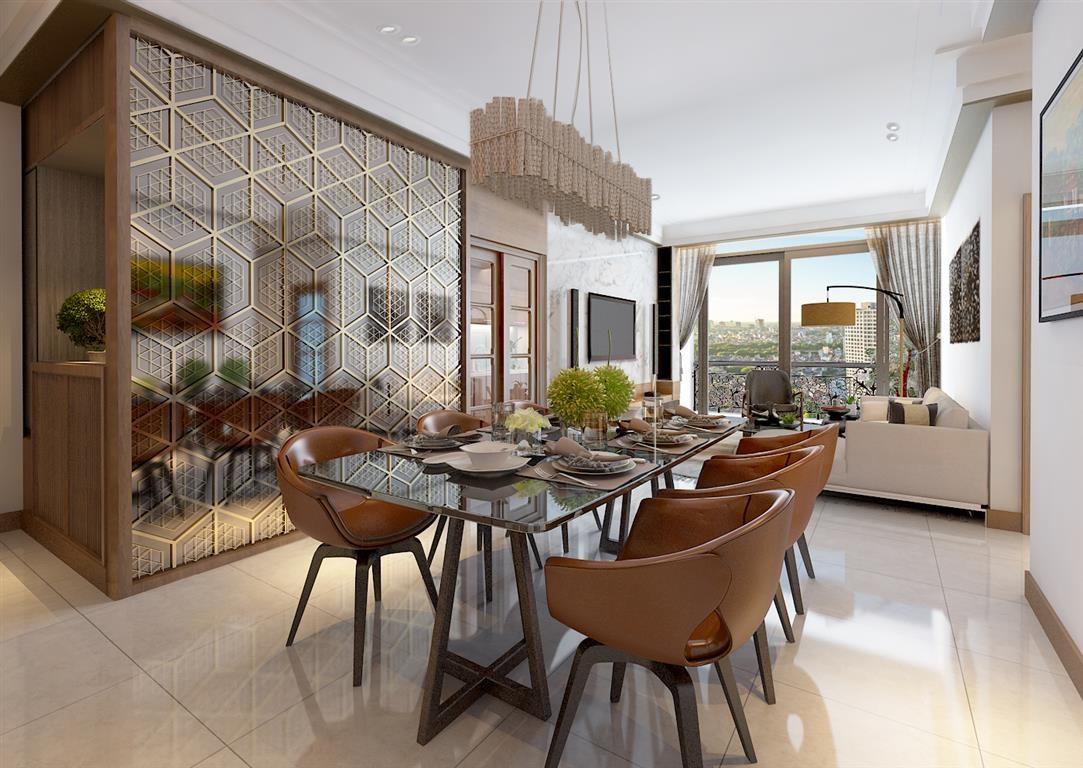 Phòng khách điển hình nhà mẫu dự án Hanoi Aqua Central