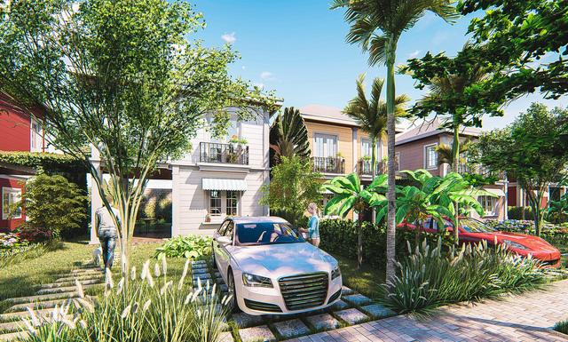 Phối cảnh một góc tiểu cảnh trước căn biệt thự vườn Haya Home