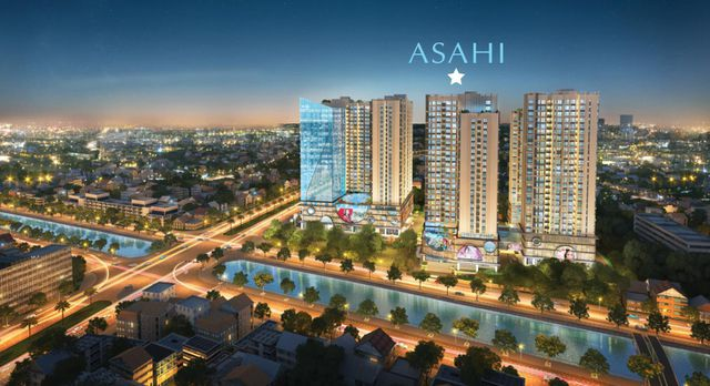 Phối cảnh tổng thể dự án Hinode City (tòa Asahi Tower nằm giữa)