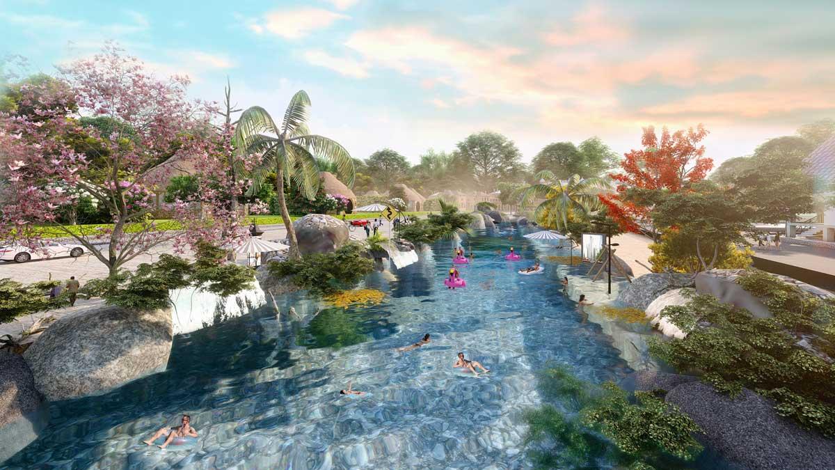Phối cảnh hồ bơi ngoài trời trong khu vui chơi của dự án Eco Bangkok Villas Bình Châu