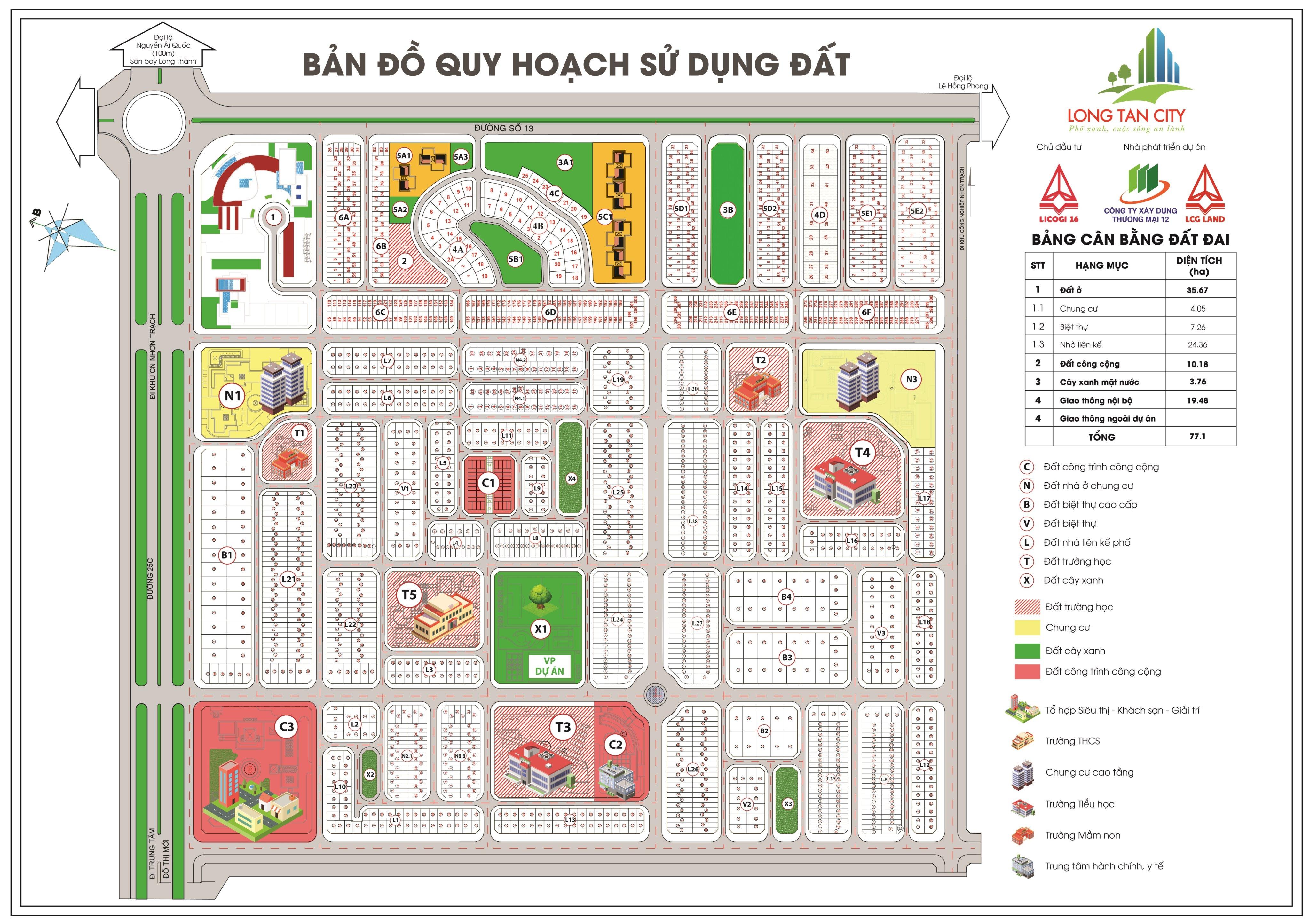 Mặt bằng tổng thể dự án Long Tân City