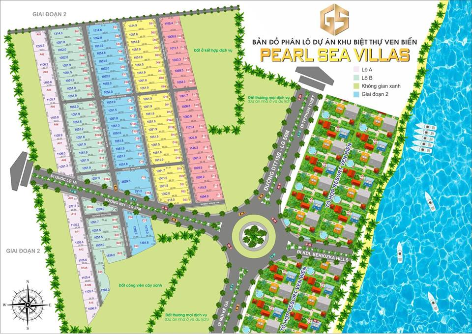 Mặt bằng phân lô dự án khu đất nền xây biệt thự ven biển Pearl Sea Villas Phan Thiết