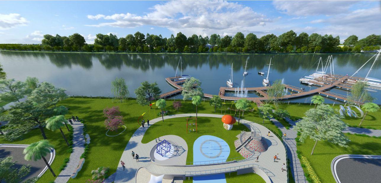 Phối cảnh khu công viên ven sông của dự án Solar City
