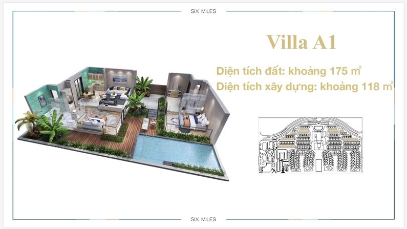 Mặt bằng căn biệt thự điển hình (biệt thự A1) dự án 6 Miles Coast resort
