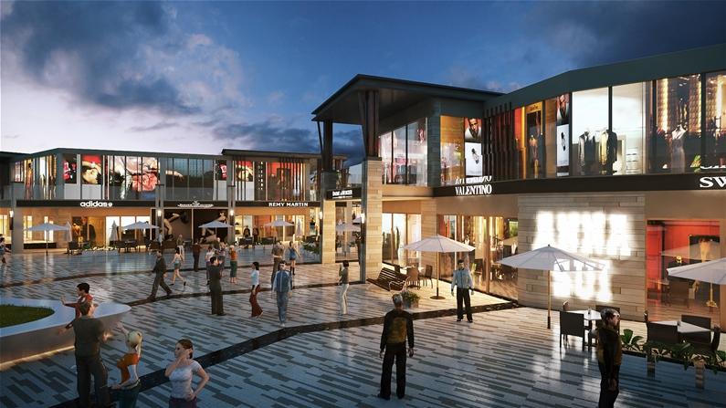 Phối cảnh khu trung tâm thương mại tại dự án nghỉ dưỡng 6 Miles Coast resort