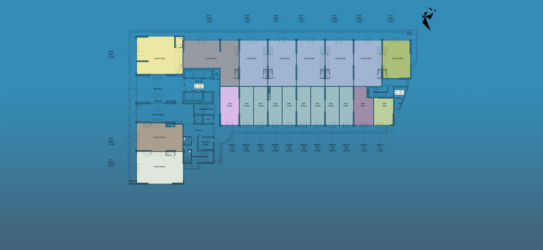 Mặt bằng tầng điển hình (tầng 1) dự án căn hộ Apec Aqua Park Bắc Giang