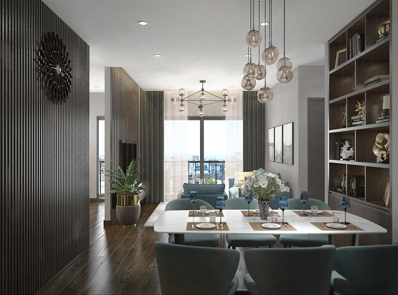 Phối cảnh nội thất phòng khách và khu ăn uống của căn hộ mẫu dự án Apec Aqua Park diện tích 90,14m2