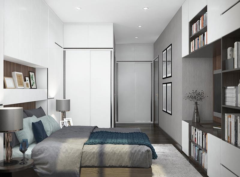 Phối cảnh nội thất phòng ngủ căn hộ mẫu dự án Apec Aqua Park với diện tích 90,14m2