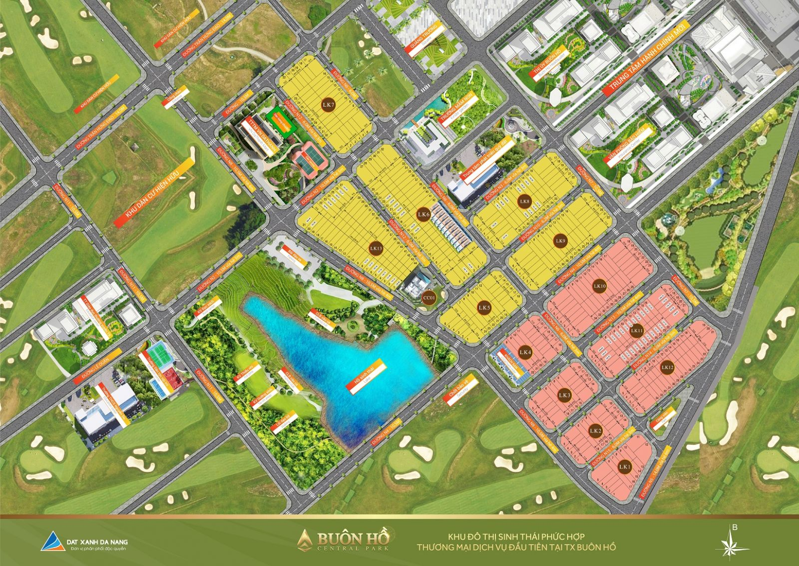 Mặt bằng tổng thể dự án Buôn Hồ Central Park (khu đô thị Đông Nam)