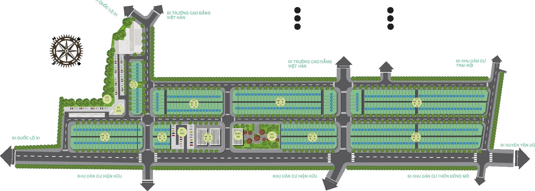 Mặt bằng tổng thể dự án khu đô thị Dĩnh Trì