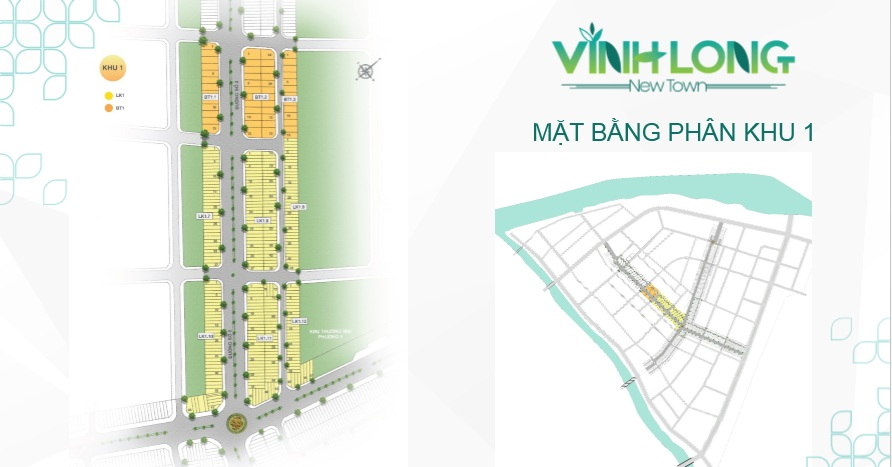 Mặt bằng phân khu 1 bao gồm các căn liền kề và biệt thự