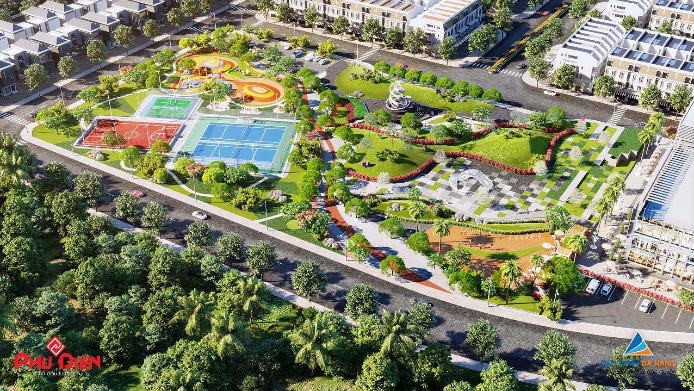 Phối cảnh khu công viên và sân chơi thể thao trong khu dân cư Phú Điền Quảng Ngãi