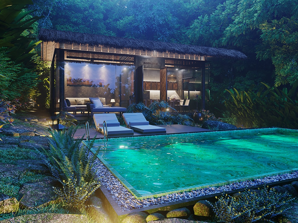 Phối cảnh hồ bơi trong khuôn viên căn pool villa dự án Casa Garden Hill