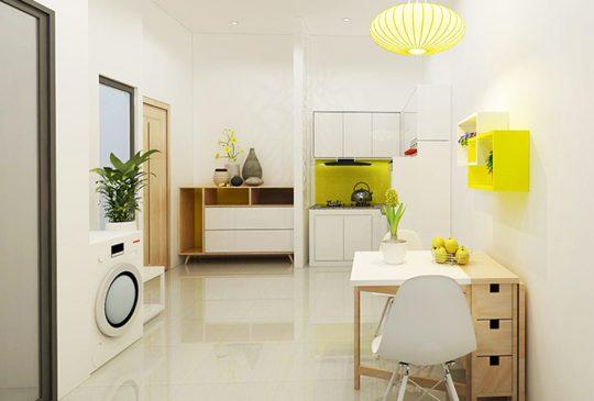 Phối cảnh phòng bếp kết hợp với khu ăn uống nhà mẫu dự án Rubi Homes