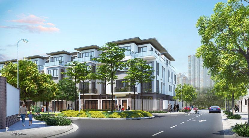 Phối cảnh dãy nhà phố dự án khu dân cư Horizon Homes Bình Dương