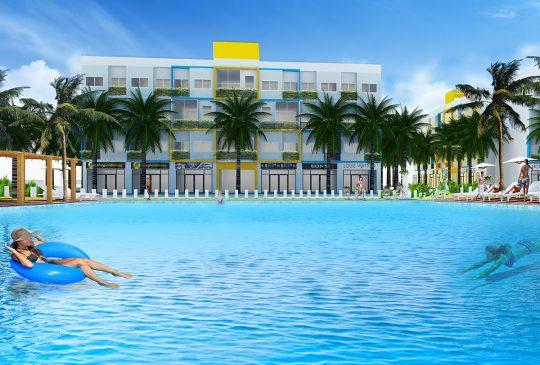 Phối cảnh hồ bơi tràn bờ diện tích 300m2 trong khuôn viên dự án căn hộ Rubi Homes