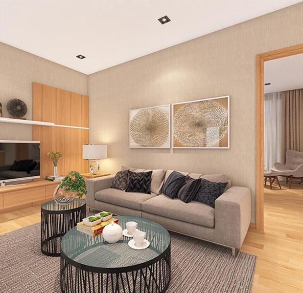 Phối cảnh phòng khách nhà mẫu dự án căn hộ 245 Hoàng Văn Thụ