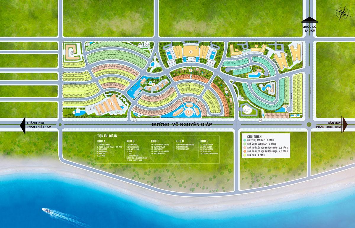 Mặt bằng tổng thể dự án khu nghỉ dưỡng Summer Land Mũi Né