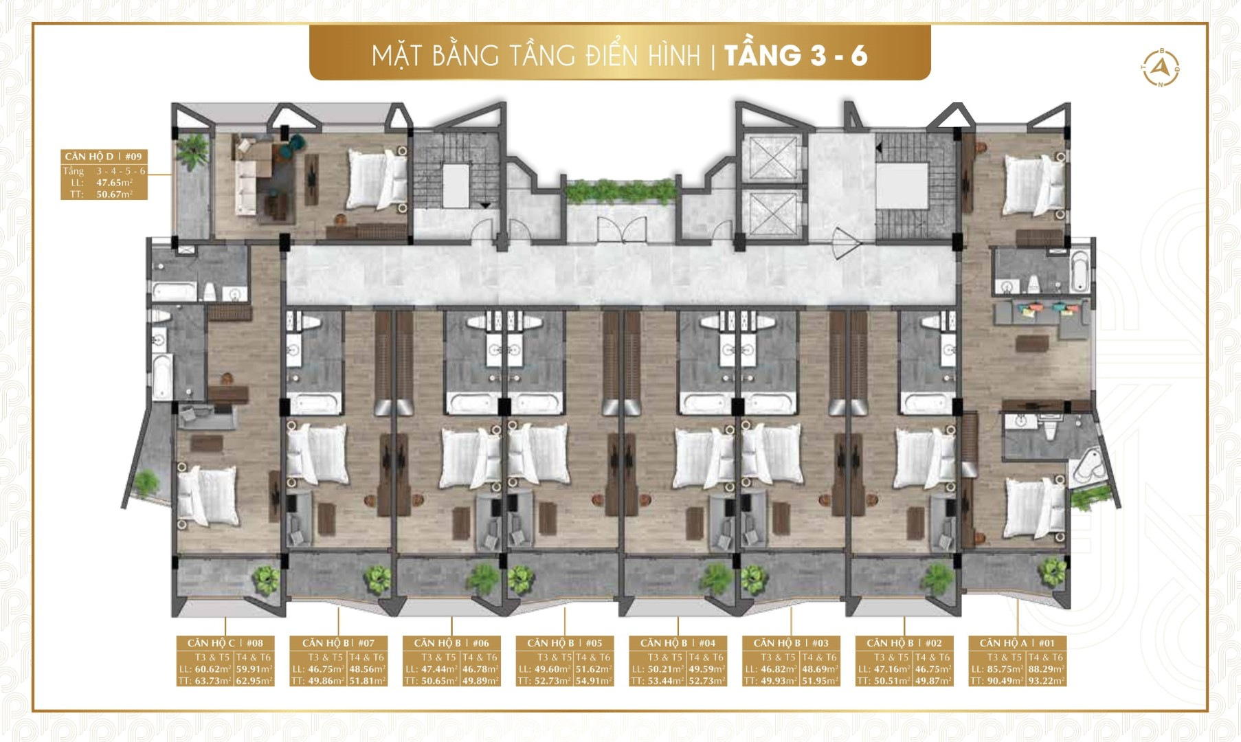 Mặt bằng tầng điển hình (tầng 3 – 6) dự án nghỉ dưỡng Parami Hồ Tràm