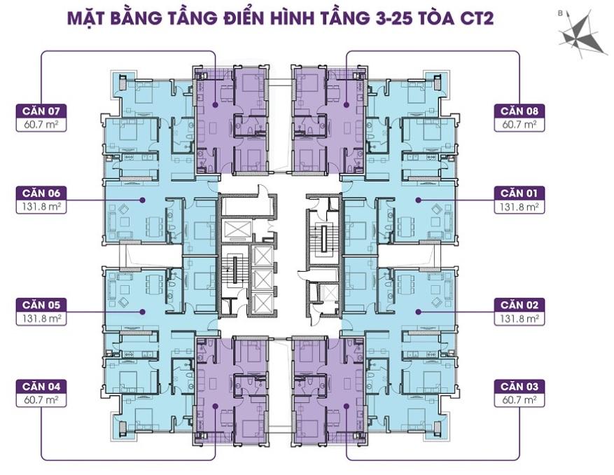 Mặt bằng tầng điển hình (tầng 3 – 25) tòa CT2 dự án Iris Garden Hà Nội